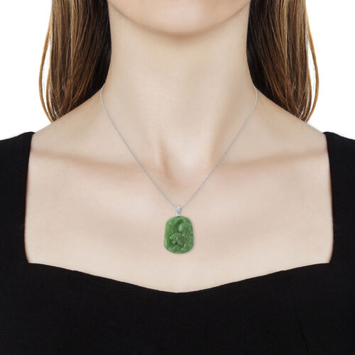 Green Jade and Natural White Cambodian Zircon Tiger Pendant with Chain (Size 18) in Rhodium Overlay Sterling Silver  57.91 Ct.
