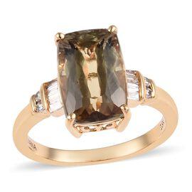 ILIANA 18K Yellow Gold AAA Turkizite (Cush 12x8 mm), Diamond Ring  4.85 Ct.