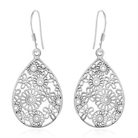 Ethnic Drop Floral Earring with Hook in Silver