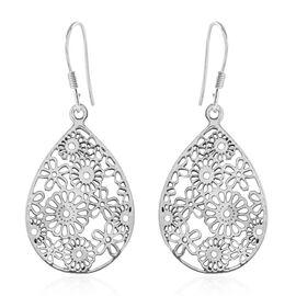 Floral Cut-Out Design Drop Hook Earrings in Sterling Silver