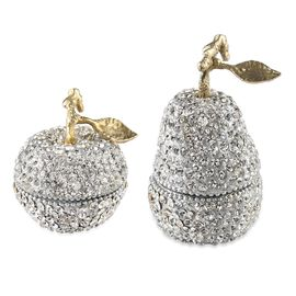 2 Piece Set - Vanilla Scented Candle in Crystal Studded Apple and Pear in Silver and Gold Tone