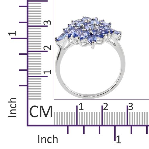 Tanzanite (Ovl), Natural Cambodian Zircon Cluster Ring in Platinum Overlay Sterling Silver 4.000 Ct.