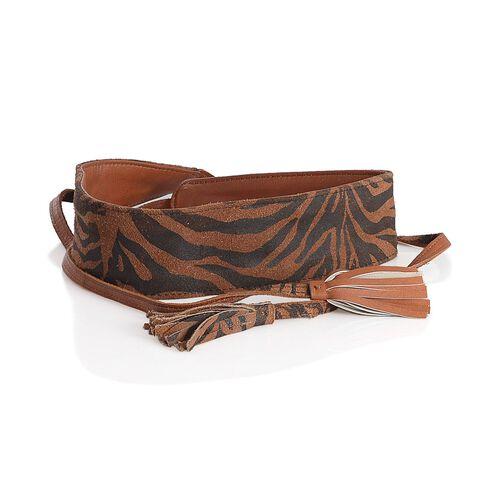 100% Genuine Leather Zebra Pattern Chocolate and Black Colour Adjustable Waist Belt with Tassels