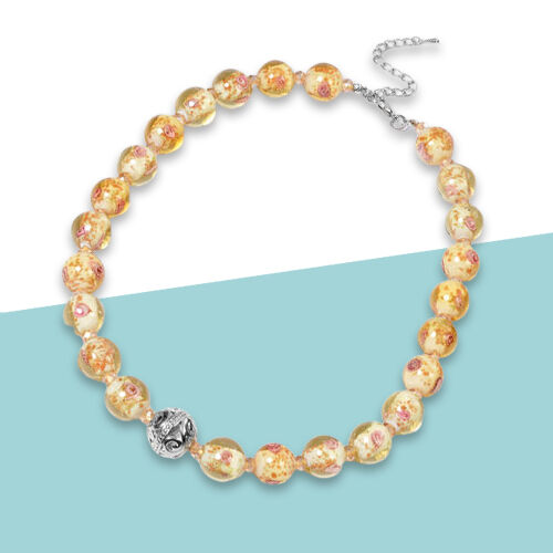 Champagne Colour Murano  Style  Glass and Simulated Champagne Diamond Necklace (Size 20 with 3 inch