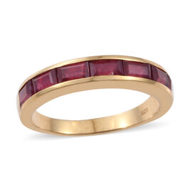 3 Carat Ruby Half Eternity Band Ring in Gold Plated Sterling Silver