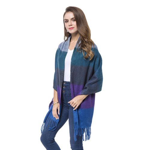 Designer Inspired-Purple, Blue and Multi Colour Horizontal Stripes Pattern Knitted Scarf with Tassels (Size 190X60 Cm)
