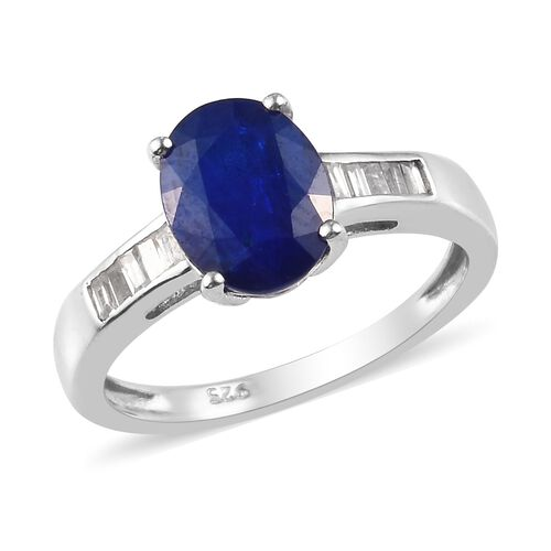 Blue Spinel and Cambodian Zircon Solitaire Ring in Platinum Plated Sterling Silver,2.50 Ct