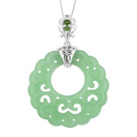 Carved Green Jade and Russian Diopside Filigree Pendant with Chain (Size 18) in Rhodium Overlay Ster