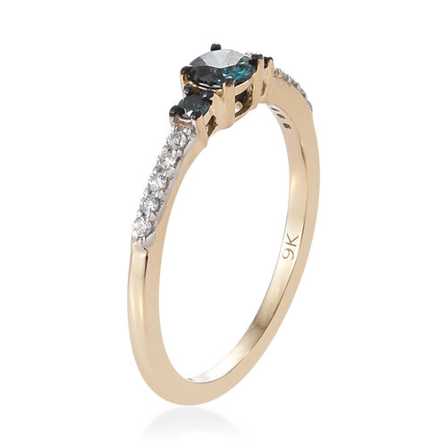 9K Yellow Gold Blue and White Diamond (Rnd) Ring 0.400 Ct.