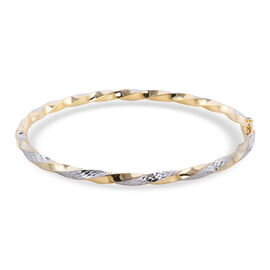 Close Out Deal - 9k Yellow and White Gold Twisted Bangle (Size - 7.5), Gold Wt 5.89 Gms