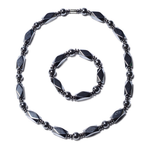 2 Piece Set - Hematite Stretchable Bracelet (Size 7) and Necklace (Size 20 with Magnetic Lock) 922.5