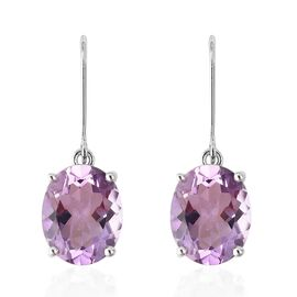 Zambian Amethyst (Ovl) Lever Back Earrings in Rhodium Overlay Sterling Silver 6.500 Ct.