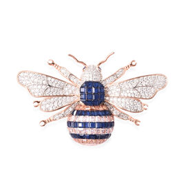 Lustro Stella Simulated Blue Sapphire, Simulated Champagne and White Diamond Bee Brooch in Two Tone