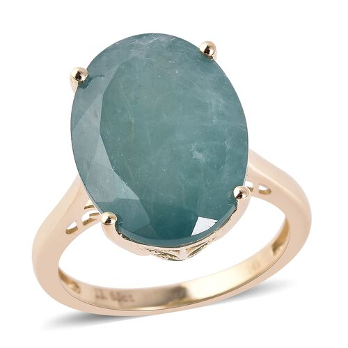 13.50 Ct AAA Grandidierite Solitaire Ring in 14K Yellow Gold 3.71 Grams