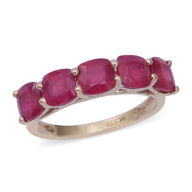 9K Yellow Gold AA African Ruby (Cush) Five Stone Ring 4.800 Ct.