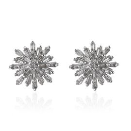 Diamond (Rnd and Bgt) Studs (with Push Back) in Platinum Overlay Sterling Silver