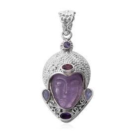 Sajen Silver - Amethyst and Multi Gemstone Devi Danu Handcarved Pendant in Sterling Silver 10.35 Ct,