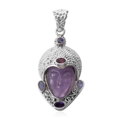 Sajen Silver - Amethyst and Multi Gemstone Devi Danu Handcarved Pendant in Sterling Silver 10.35 Ct,