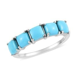 Arizona Sleeping Beauty Turquoise (Sqr) Five Ring in Platinum Overlay Sterling Silver 1.25 Ct.