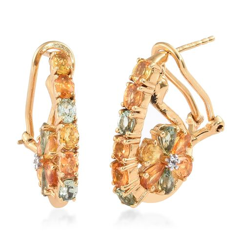 Rainbow Sapphire (Pear and Ovl), Natural White Cambodian Zircon Earrings (with French Clip) in 14K G