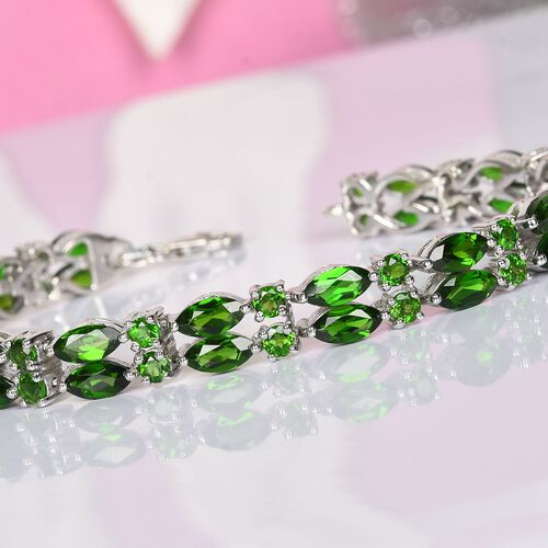 Russian Diopside Bracelet (Size 7.5) in Platinum Overlay Sterling Silver 15.97 Ct, Silver wt 13.90 Gms