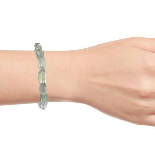 Prehnite Bracelet (Size 7.5) with Lobster Lock in Platinum Overlay Sterling Silver 92.000 Ct.
