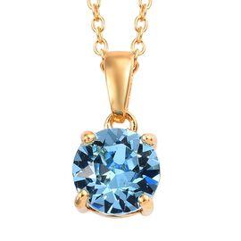 Crystal from Swarovski - Aquamarine Colour Crystal (0.75 Ct) 14K Gold Overlay Sterling Silver Pendan