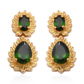 Russian Diopside Earrings (with Push Back) in Yellow Gold Overlay Sterling Silver 3.27 Ct.