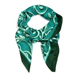 LucyQ 100% Mulberry Silk Digitally Printed Teal Green Square Scarf (Size 100x100 Cm)