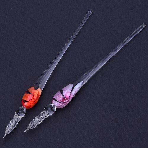Set of 2 - Red and Pink Colour Floral Pattern Murano Style Glass Pen