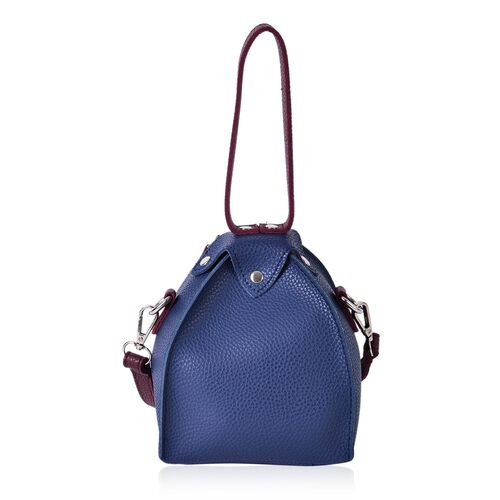 Navy and Burgundy Colour Tote Bag with Adjustable and Removable Shoulder Strap (Size 17x14x14 Cm)