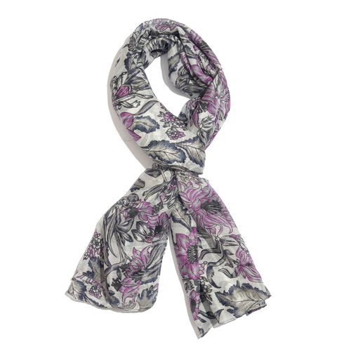 100% Mulberry Silk Light Grey, Pink and Multi Colour Flower and Leaves Printed Scarf (Size 180x100 C