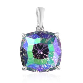 J Francis Crystal From Swarovski Paradise Shine Crystal Solitaire Pendant in Platinum Overlay Sterli