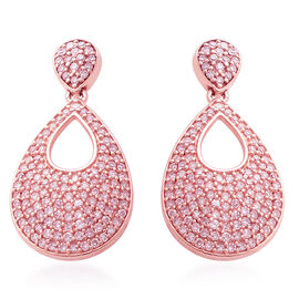 9K Rose Gold Very Rare Natural Pink Diamond (Rnd) Teardrop Earrings (with Push Back) 1.00 Ct.