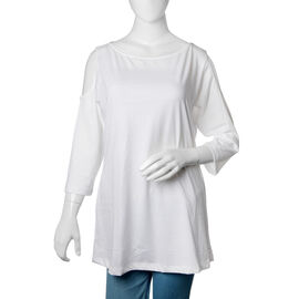 New for Season 100% Cotton White Colour Cutout Shoulder Top Size 75X50 Cm