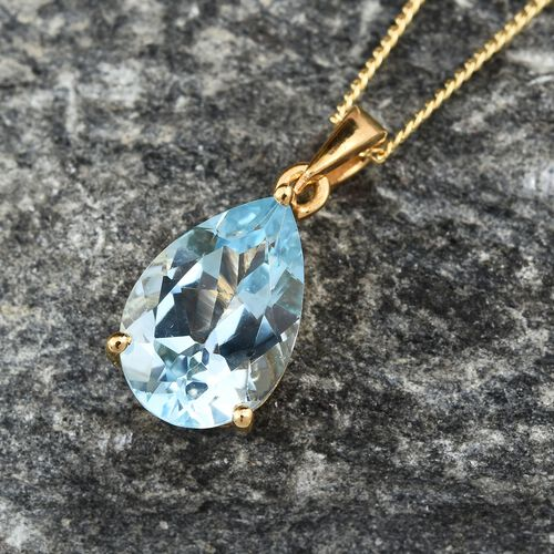 3.40 Ct Sky Blue Topaz Pendant with Chain in Gold Plated Silver