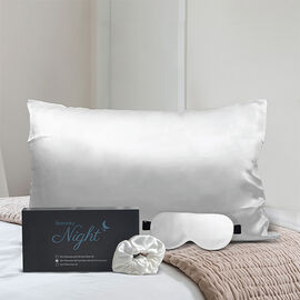 Both Sides 100% Mulberry silk- Set of Pillowcase, (50x75cm), Scrunchie & Eye Mask (23.5x10.5cm) - Iv