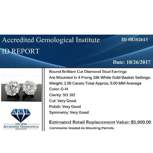 ILIANA 18K White Gold EGL Certified Diamond (Rnd) (SI/GH) Stud Earrings (with Screw Back) 1.000 Ct.