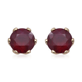 9K Yellow Gold AAA African Ruby Solitaire Stud Earrings (with Push Back) 11.06 Ct.