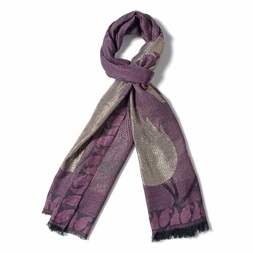 Dark Pink, Golden and Black Colour Scarf with Bamboo Shoot Pattern (Size 180x68 Cm)