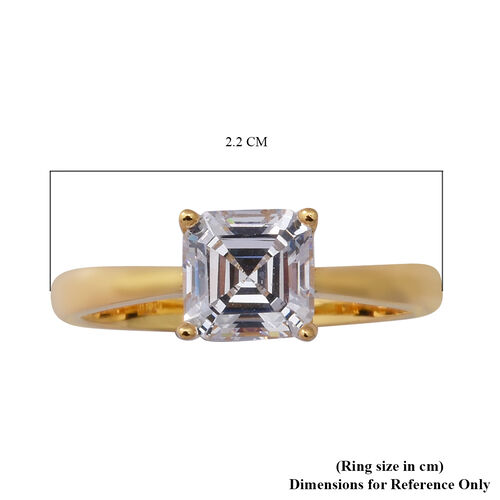 RELANZA Swiss Star Simulated Diamond Solitaire Ring in Yellow Gold Overlay Sterling Silver