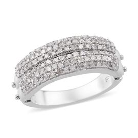 GP - Diamond and Blue Sapphire Openable Multi Row Band Ring in Platinum Overlay Sterling Silver 0.52