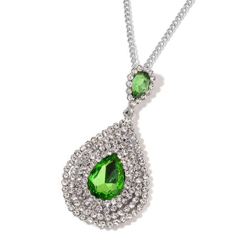 Simulated Emerald and White Austrian Crystal Necklace (Size 20 with 3 Inch Extender) and Earrings (with Push Back) in Silver Tone