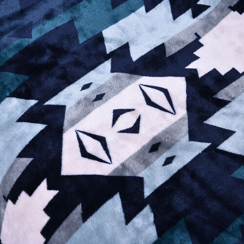Serenity Night - Santa Fe Collection - Flannel Sherpa Blanket (200x150cm) - Navy -  Oeko Tex Certified - 220 GSM Sherpa + 270 GSM Flannel