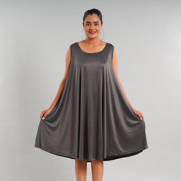 Women Sleeveless Umbrella Dress with Pocket (One Size) - Grey