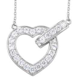 J Francis - Platinum Overlay Sterling Silver (Rnd) Heart Necklace with Chain (Size 18) Made with SWA