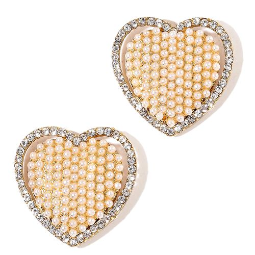 Pair of Heart Design Clip Accessory Studded with Simulated White Pearl and White Austrian Crystal in Yellow Gold Tone