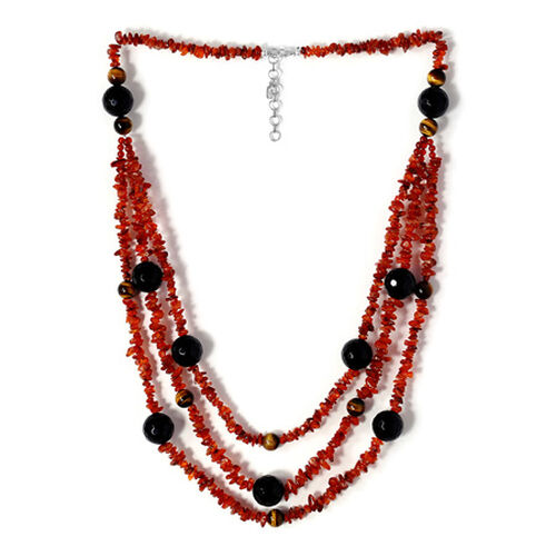 Carnelian, Black Onyx, Tigers Eye and Red Agate Enhanced Necklace (Size 30) in Sterling Silver 611.100 Ct.
