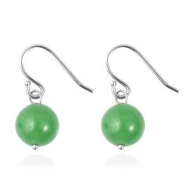 Green Jade (Rnd) Earrings in Sterling Silver 6.00 Ct.