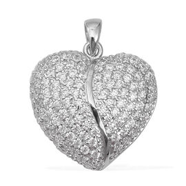 Simulated Diamond Heart Pendant in Rhodium Plated Sterling Silver